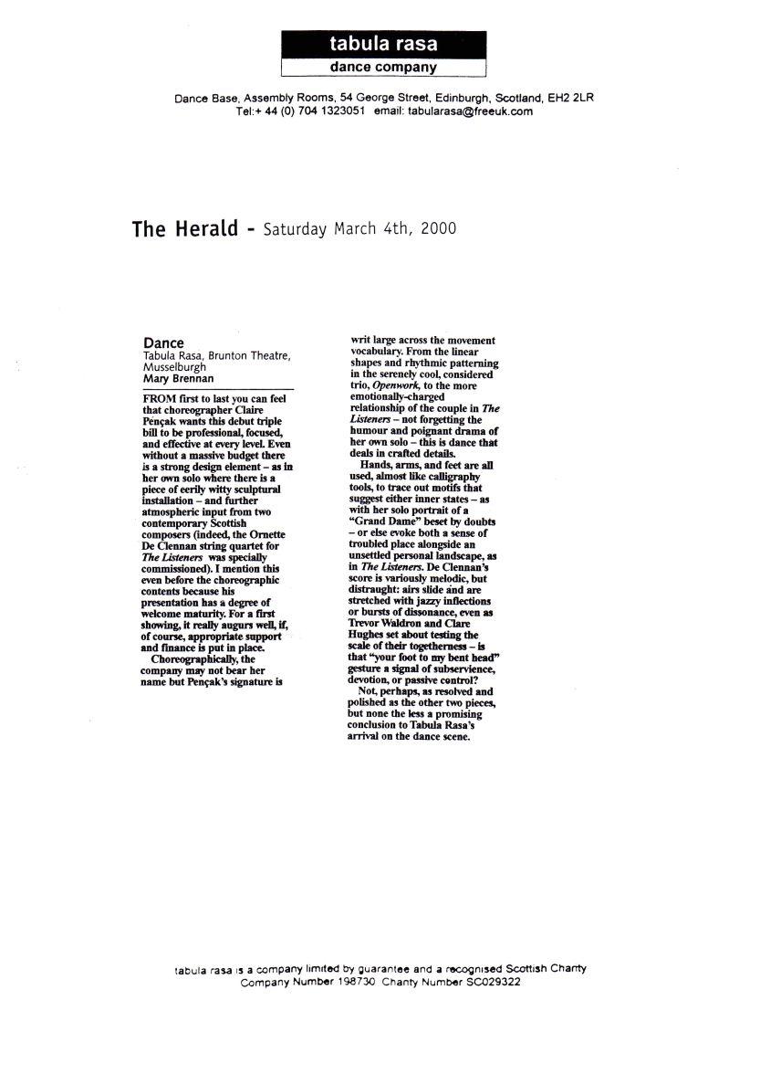 Brennan, M. (2000) Dance: Tabula Rasa, Brunton Theatre, Musselburgh. The Herald, Saturday March 4th.