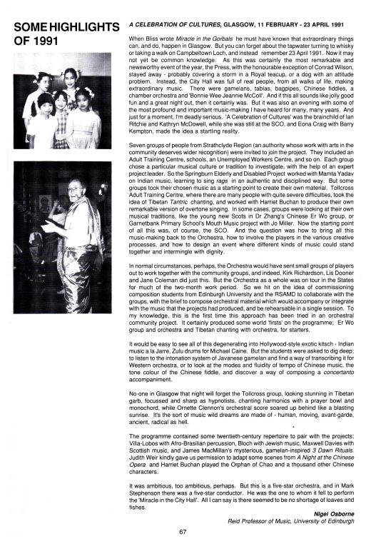 Osborne, N. (1992) A Celebration of Cultures, Glasgow 11 February - 23 April 1991. Scottish Chamber Orchestra Handbook, Iss. 91/92.