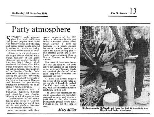 Miller, M. (1991) Party Atmosphere. The Scotsman, Wednesday December 18th.