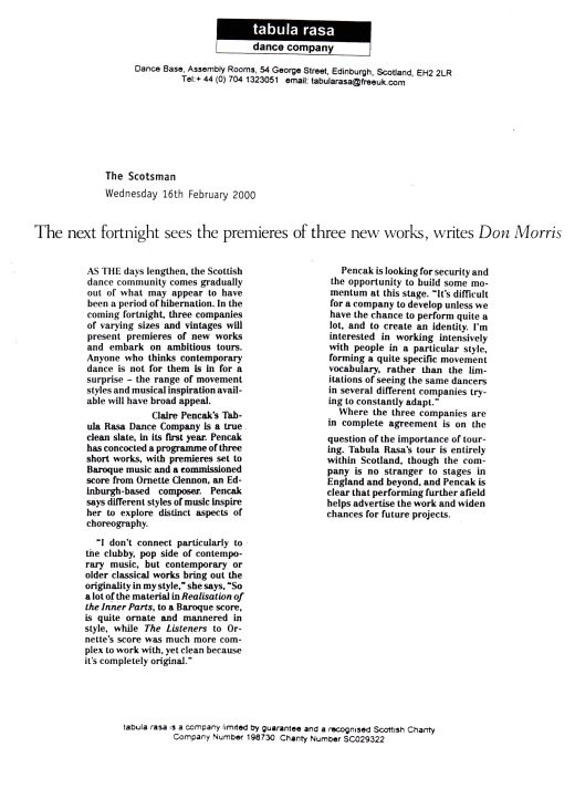 Morris, D. (2000) The next fortnight sees the premieres of three new works, writes Don Morris. The Scotsman, Wednesday February 16th